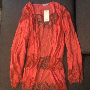 Tobi's Long sleeve coral lace cardigan